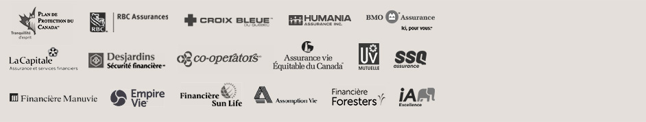 Voici les partenaires de AssuranceVieSansExamenMedical.ca: SSQ, Sun Life, Croix Bleue, BMO, Industrielle Alliance, Desjardins, Assurance Vie Équitable du Canada, RBC, Humania, Manuvie, La Capitale, IA Excellence, Plan de Protection du Canada, Ivari, Empire Vie, UV Mutuelle, Foresters, Assomption Vie